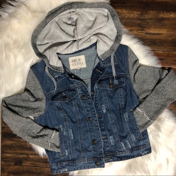Thread & Supply Jackets & Blazers - Distressed Denim Jacket Fleece Hood & Sleeves Sz M